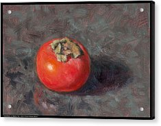 Persimmon On Marble Tile Acrylic Print