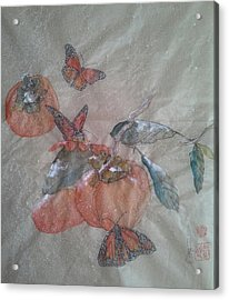 Persimmons And Monarch Acrylic Print
