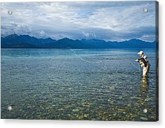 Person Flyfishing In Lake Clark Of Lake Acrylic Print