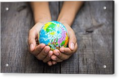 Person Holding A World Acrylic Print by Aged Pixel