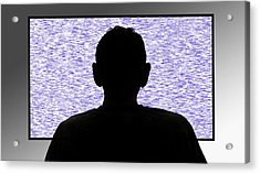 Person In Front Of Flickering Tv Screen Acrylic Print by Victor De Schwanberg/science Photo Library