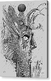 Person Insect. Smoker. Surrealistic Acrylic Print by Alex74