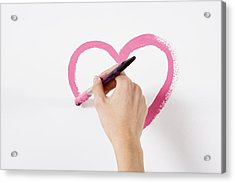 Person Painting A Heart Acrylic Print by Image Source