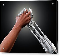 Person Shaking Hands With Robot Acrylic Print by Andrzej Wojcicki