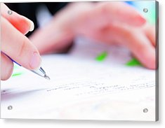 Person Using A Pen To Sign A Document Acrylic Print by Wladimir Bulgar