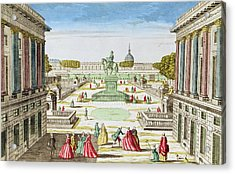 Perspective View Of Place Louis Xv From Porte Saint-honore Coloured Engraving Acrylic Print