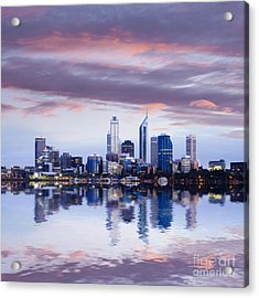 Perth Skyline Reflected In The Swan River Acrylic Print by Colin and Linda McKie