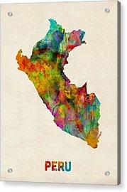 Peru Watercolor Map Acrylic Print by Michael Tompsett