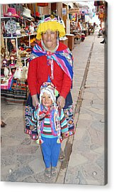 Peruvian Mother And Child Acrylic Print by Eva Kaufman