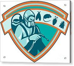 Pest Control Exterminator Worker Shield Acrylic Print by Aloysius Patrimonio