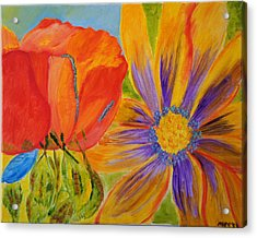 Acrylic Print featuring the painting Petals Up Close by Meryl Goudey