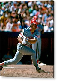 Pete Rose Connecting On Pitch Acrylic Print by Retro Images Archive