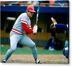 Pete Rose Taking Pitch Acrylic Print by Retro Images Archive
