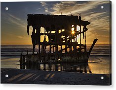 Peter Iredale Shipwreck Sunset Acrylic Print by Mark Kiver