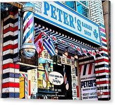 Peter's Barber Shop Circa 1961 Acrylic Print by Nina Silver