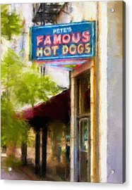 Pete's Famous Hot Dogs Acrylic Print by Fred Baird