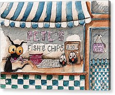 Pete's Fish And Chips Acrylic Print by Lucia Stewart