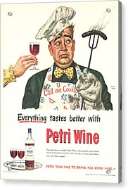 Petri Wine 1940s Usa Cooking  Bbq Acrylic Print by The Advertising Archives