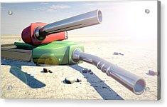 Petrol Nozzles In The Desert Acrylic Print