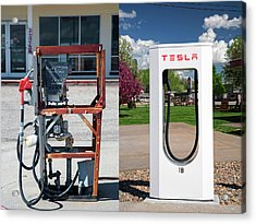 Petrol Pump And Electric Charging Point Acrylic Print by Jim West