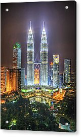 Petronas Twin Towers And Klcc Park At Night Acrylic Print by Daniel Chui