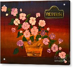 Acrylic Print featuring the painting Petunia by Denise Tomasura