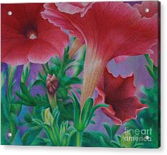 Acrylic Print featuring the painting Petunia Skies by Pamela Clements