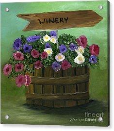 Petunias In A Barrel Acrylic Print by Maria Williams