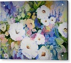 Petunias In White Acrylic Print