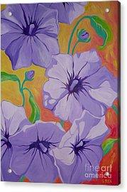 Petunias Acrylic Print by Sandra Yuen MacKay
