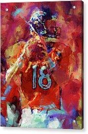 Peyton Manning Abstract 3 Acrylic Print by David G Paul