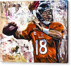 Peyton Manning Acrylic Print by Mark Courage