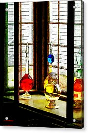 Acrylic Print featuring the photograph Pharmacist - Colorful Bottles In Drug Store Window by Susan Savad