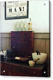 Pharmacist - Desk With Mortar And Pestles Acrylic Print