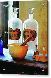 Acrylic Print featuring the photograph Pharmacist - Mortar And Pestle With Bottles by Susan Savad