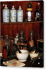 Pharmacist - Mortar And Pestles In Drug Store Acrylic Print