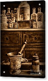 Pharmacist  Old Medicine In Black And White Acrylic Print by Paul Ward