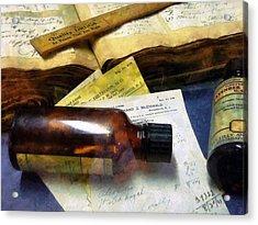 Pharmacist - Prescriptions And Medicine Bottles Acrylic Print