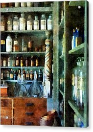 Acrylic Print featuring the photograph Pharmacy - Back Room Of Drug Store by Susan Savad