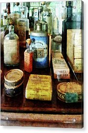 Acrylic Print featuring the photograph Pharmacy - Cough Remedies And Tooth Powder by Susan Savad