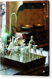 Acrylic Print featuring the photograph Pharmacy - Glass Funnels And Bottles by Susan Savad