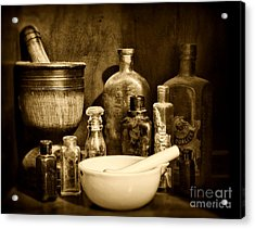 Pharmacy - Tools Of The Pharmacist - Black And White Acrylic Print by Paul Ward