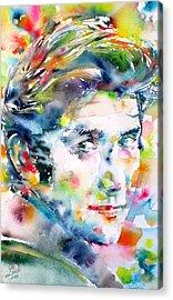 Phil Ochs - Watercolor Portrait Acrylic Print by Fabrizio Cassetta