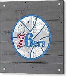 Philadelphia 76ers Basketball Team Retro Logo Vintage Recycled Pennsylvania License Plate Art Acrylic Print by Design Turnpike