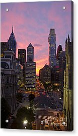 Philadelphia City Center At Sunset Acrylic Print