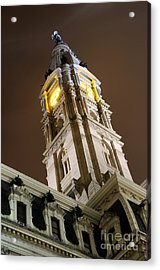 Philadelphia City Hall Clock Tower At Night Acrylic Print