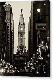 Philadelphia City Hall Acrylic Print by Louis Dallara