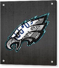 Philadelphia Eagles Football Team Retro Logo Pennsylvania License Plate Art Acrylic Print by Design Turnpike