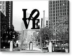 Philadelphia Love Bw Acrylic Print by John Rizzuto