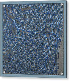 Philadelphia Map Antique 3 Acrylic Print by Bekim Art